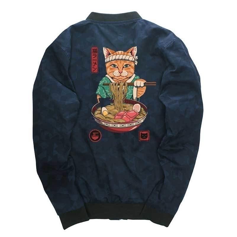 Giacche di Neko Ramen Giacche Harajuku stile giapponese uomo cappotto hip hop winderbreaker drop shipping mens giacche da uomo streetwear cappotto stand collare 201127