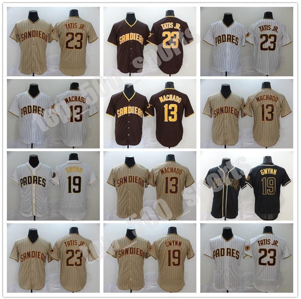 Mens Padres 19 Tony Gwynn Jersey San Diego 13 Manny Machado 23 Fernando Tatis Jr. 모든 스티치 플렉스 플렉스베이스 쿨베이스 야구 유니폼