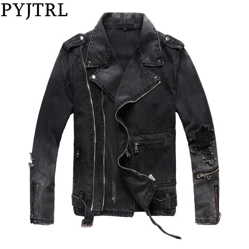 Pyjtrl Yeni Erkek Sonbahar Kış Kalın Vintage Delikler Yırtık Sıkıntılı Ceket Siyah Denim Ceket Motosiklet Zippers Dış Giyim 201123