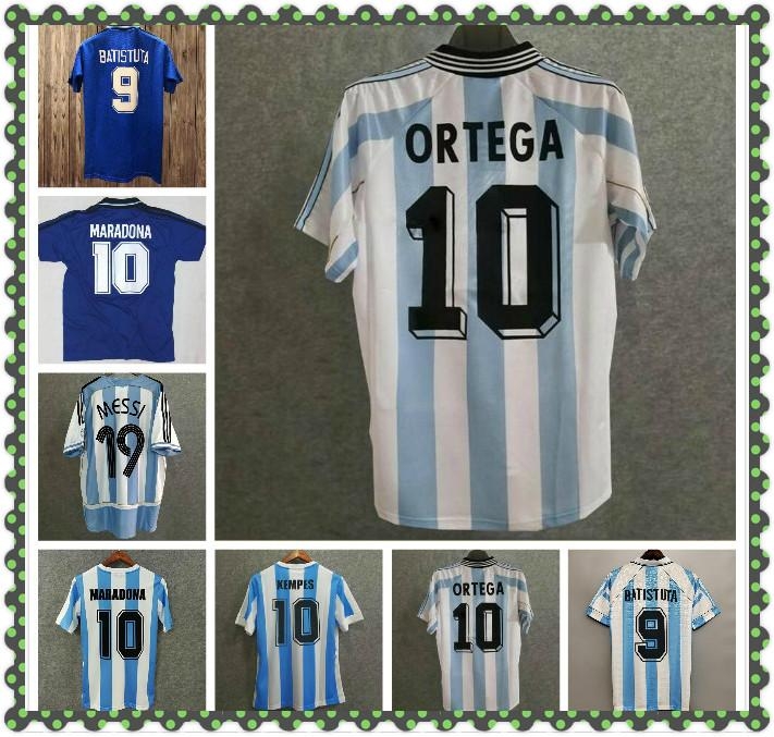 Retro argentina fútbol jerseys mesi maradona batistuta crespo ortega riquelme veron zanetti tevez kit vintage camisa clásica