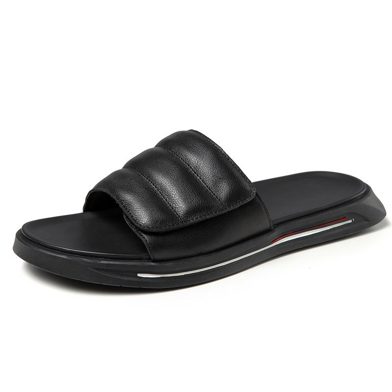 Summer de alta calidad de cuero exterior zapatillas hombre diapositivas claquette homme mans slide shoes schoenen ikcs