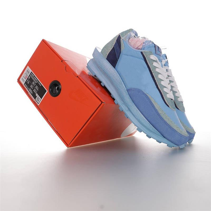 Céu Blue Bespokeinds x Sacaily x LDV Waffles Pack Running Tênis Tie Tie Blue Ldvwaffles para mulheres Mens Australia Design Sacaily Sneakers