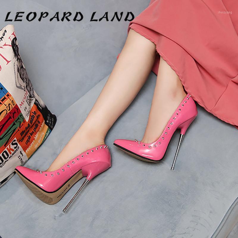 Leopard Land Metall Ferse Super High Heel Dünne Hohe Schuhe Nachtclub Hentian Border Performance Schuhe Lieferung WZ1
