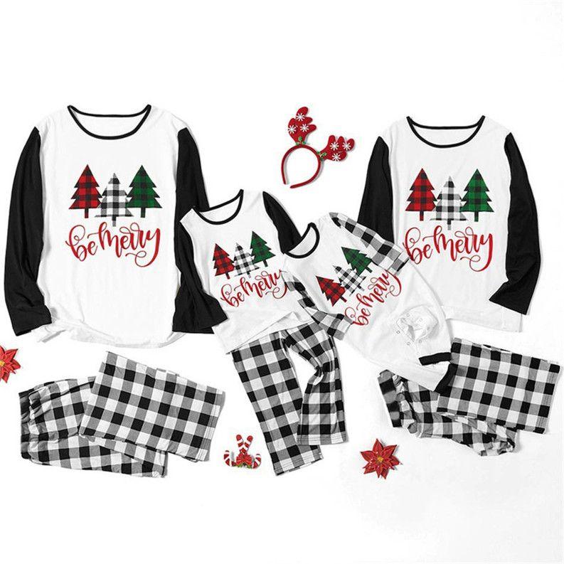 Родитель-ребенок рождественские семейства пижамы наборы женщин мужчины детей младенца constrast цвет рождественские весы писем футболки вершины и плед брюки костюм f120301
