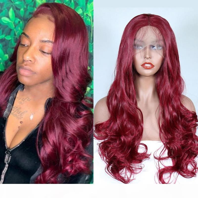 Parrucca anteriore in pizzo sintetico Borgogna Red Wag Long Capelli lunghi Parrucca resistente al calore Fibra di calore per le donne Natural Hundline con capelli per bambini