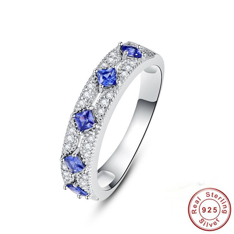 Küme Yüzük Hakiki 100% 925 Ayar Gümüş Mavi Safir Yıldönümü Düğün Gelin Parmak Güzel Hediye Marka Takı