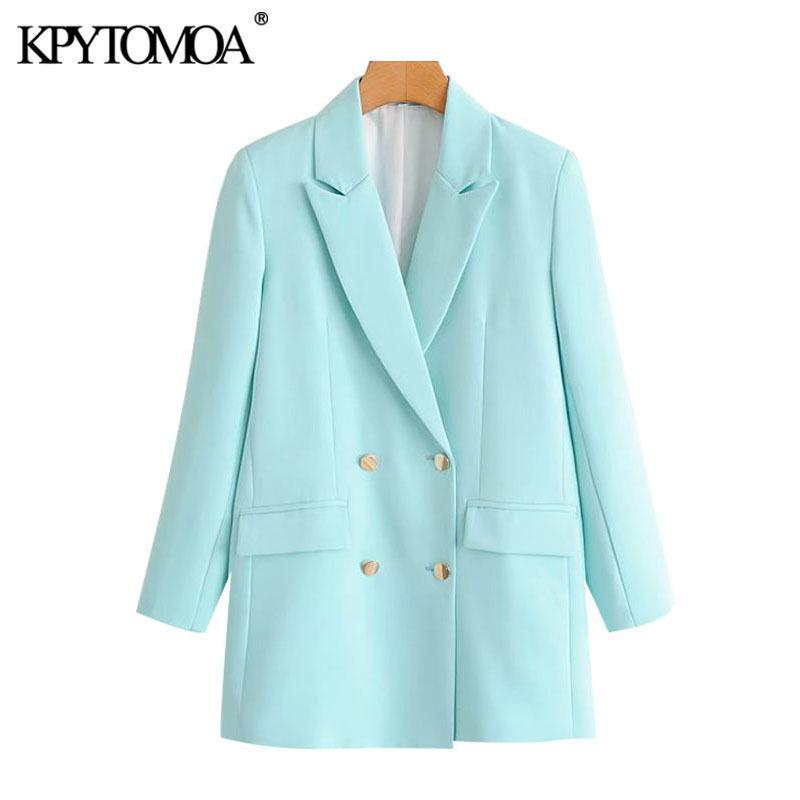 KPYTOMOA Femmes Bureau de la mode Porter des blazers à double boutonnage manteau Vintage Poches à manches longues Femme Vêtements d'extérieur Chic Tops 201114