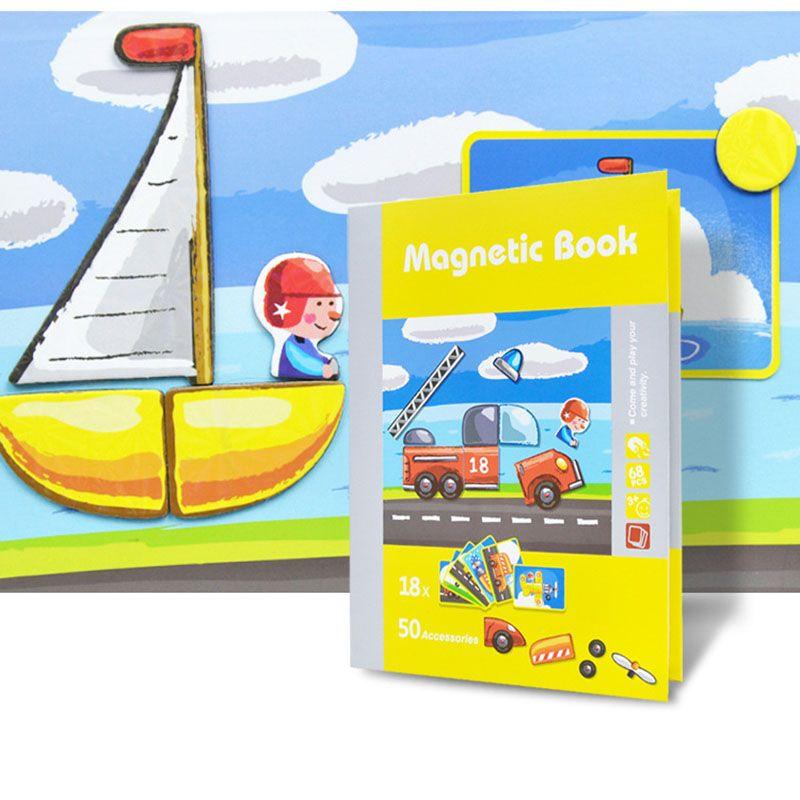 DIY tridimensional livro magnético puzzle crianças primeiras educação brinquedos crianças iluminam brinquedo