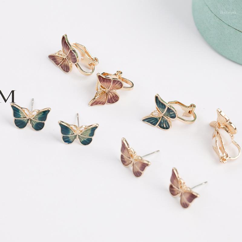 Stud UJBOX Hypoallergenic Post Butterfly Earrings Korean Fashion Temperament No Piercing For Girls1