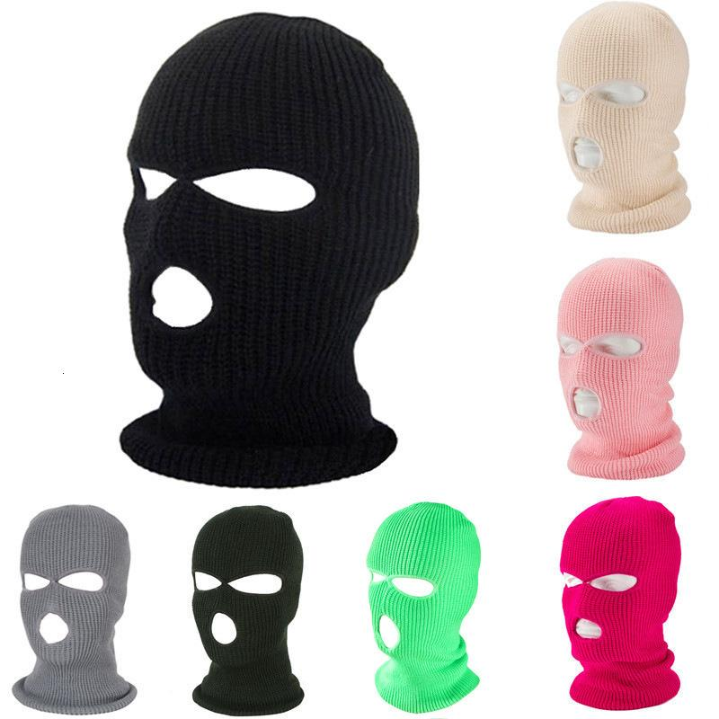Skimask Kappe gestrickte Kopfbedeckung Winter fluoreszierend Halten Sie drei Loch warme Kappe winddicht volle Gesichtsabdeckung Designer Party Masken warme taktische Hut
