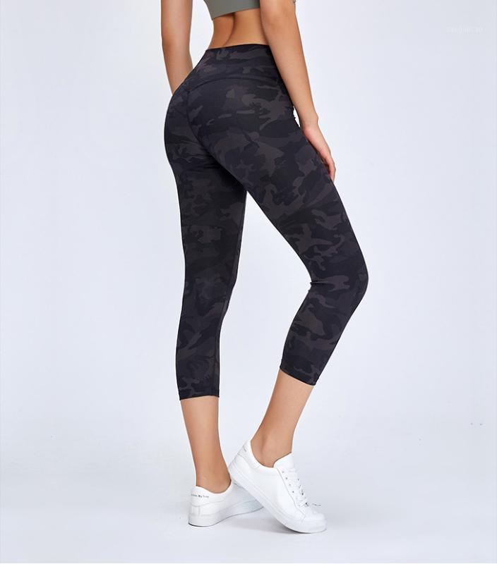 Femmes Camouflage Imprimé Yoga Leggings pour Gym Sport Wearging Stretchy Leggings Femmes Fitness Workout Soft 7/8 longueur