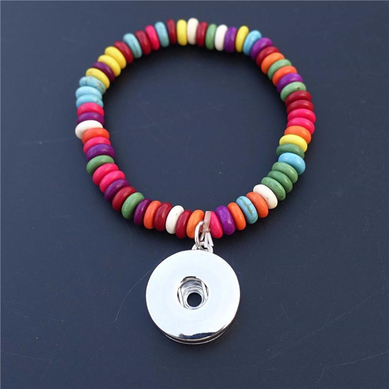 Doğa Taş Boncuk Bilezik 18mm Yapış Düğmeler Charms Soket El Işi Çocuklar Kız Takı Unisex Çocuklar için 12 Parça Her Set Y1119