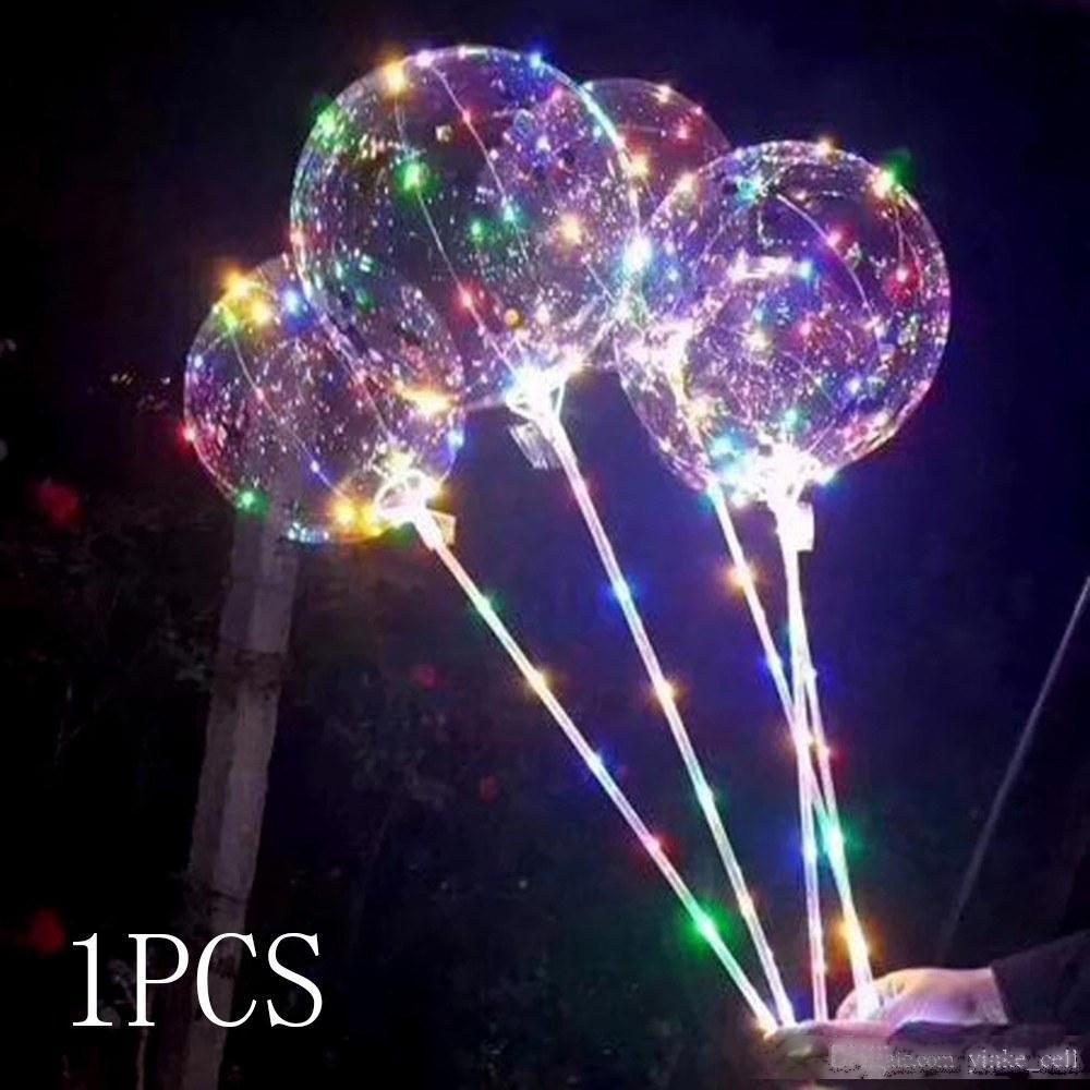 Ballon de ballon LED Night Light Bobo Ballons avec Stick Lumineux Lampe de clignotant coloré Joyeux anniversaire fête de mariage