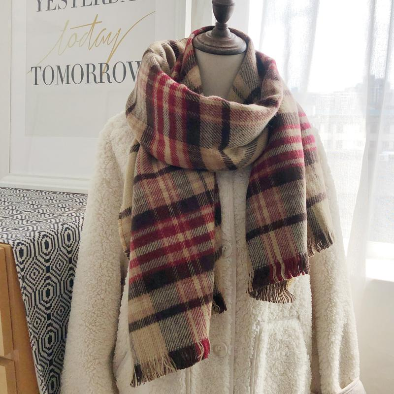 New South Korean double side plaid scarf for women in winter