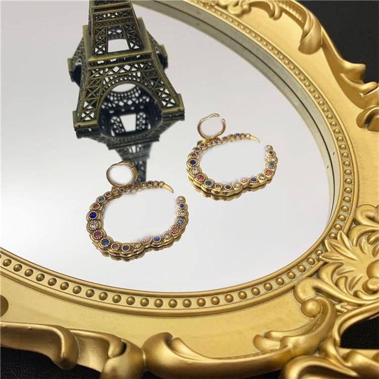 Orecchini colorati di lusso per borchie Brand Letters Orecchini per borchie Bliny Diamond Charm Orecchini Strass Gioielli per le donne Bithday Regalo