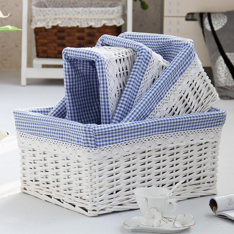 Корзина для прачечной Маленькая большая ручная плетеная корзина для хранения плетеных с натуральными хлопчатобумажными коноплями.