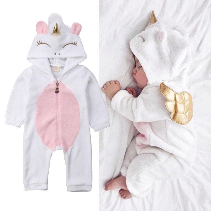 Niño recién nacido unicornio bebé niñas vellón mameluco mono jumper trajes traje Q1215
