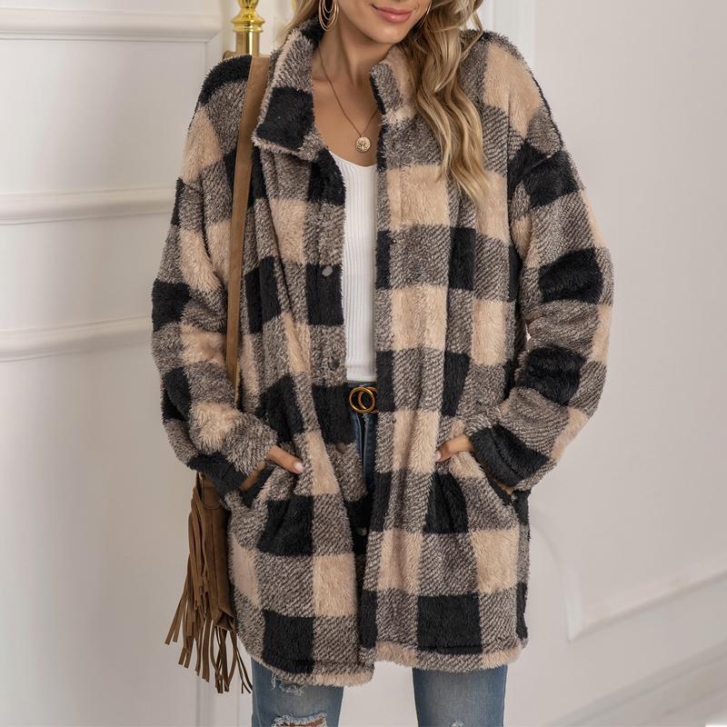 여성용 양모 겨울 2021 여성용 체크 무늬 양고기 모피 코트 긴 소매 캐주얼 양털 재킷 칼라 겉옷