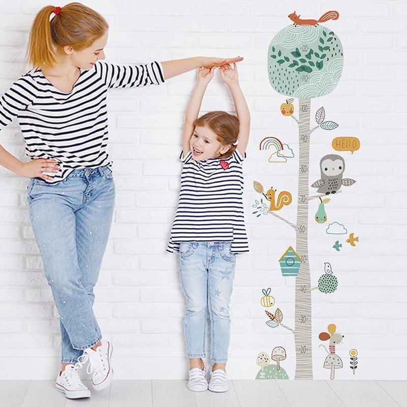 Pegatinas de pared Árbol de bosque Altura Etiqueta de medición de la sala de niños Decoración de la habitación Nursery Child Crement Gráfico Decalación regalo del bebé
