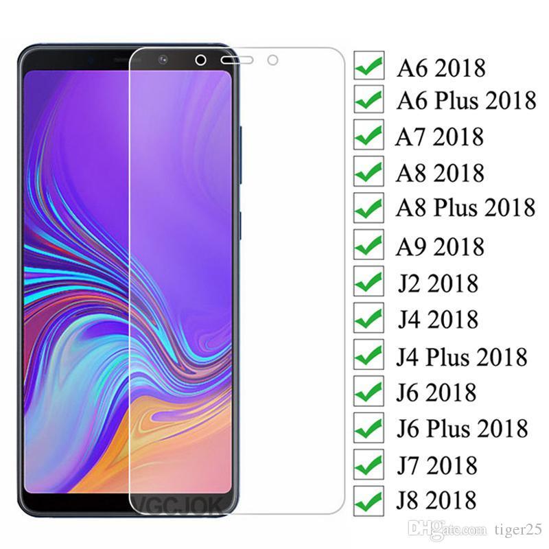 9D Proteção Vidro para Samsung Galaxy A6 A8 J6 J6 Plus 2018 J2 J8 A7 A9 2018 Protetor de Tela Temperada Caixa de Filme de Segurança