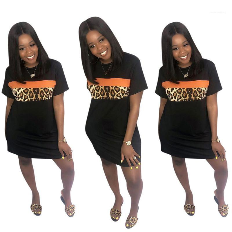 Ropa mujer casual leopardo vestido de verano negro o cuello manga corta vestidos sólidos 20ss nuevas mujeres