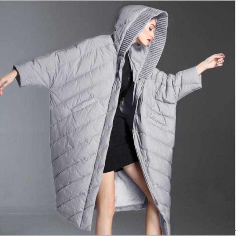 Style New Long Wool Large Black Thick Hood Women's Low-grade High-grade Duck Coat Pure