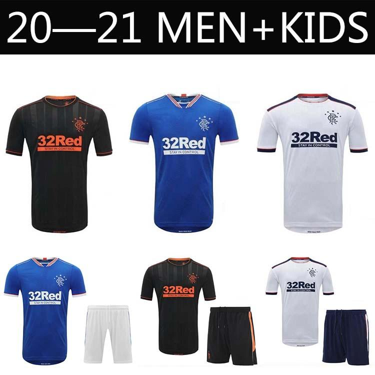 2020 2021 Glasgow Rangers Gerrard Futbol Gömlek Yetişkin Çocuk Seti Davis Rangers F.C. Davis Defoe
