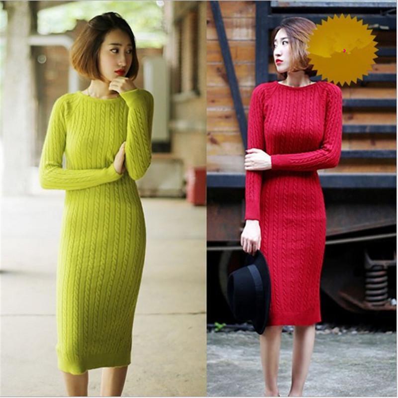 Col Coton Solide Slim Mift-Longueur Modycon Sweat Heade Robe Femme Femme Donne Née SI Vestono Vestido de Mujer