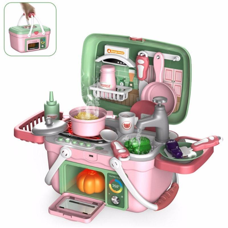 30pcs/set Kids Kitchen Toys Food Cooking Suitcase Preten Play Toy Electric Spray Water Children's Household Set Gift For Girls F1211