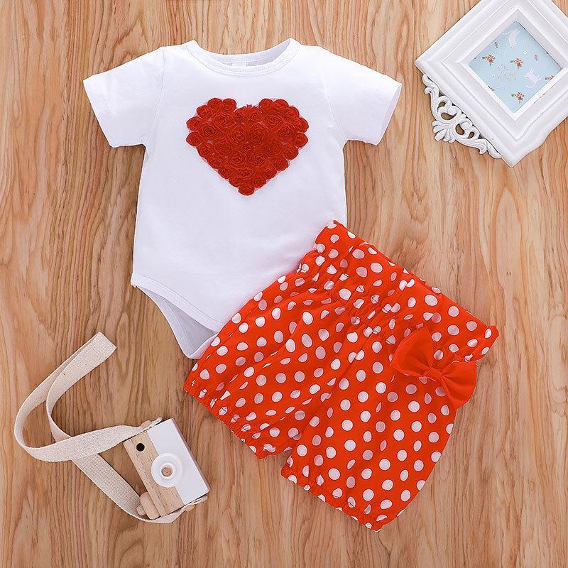 Baby 3D Цветочные Rompers + Dot Book Outfits Лето 2021 Детская Бутика Одежда 0-2т Маленькие Детские Девушки Случайные 2 ПК Набор
