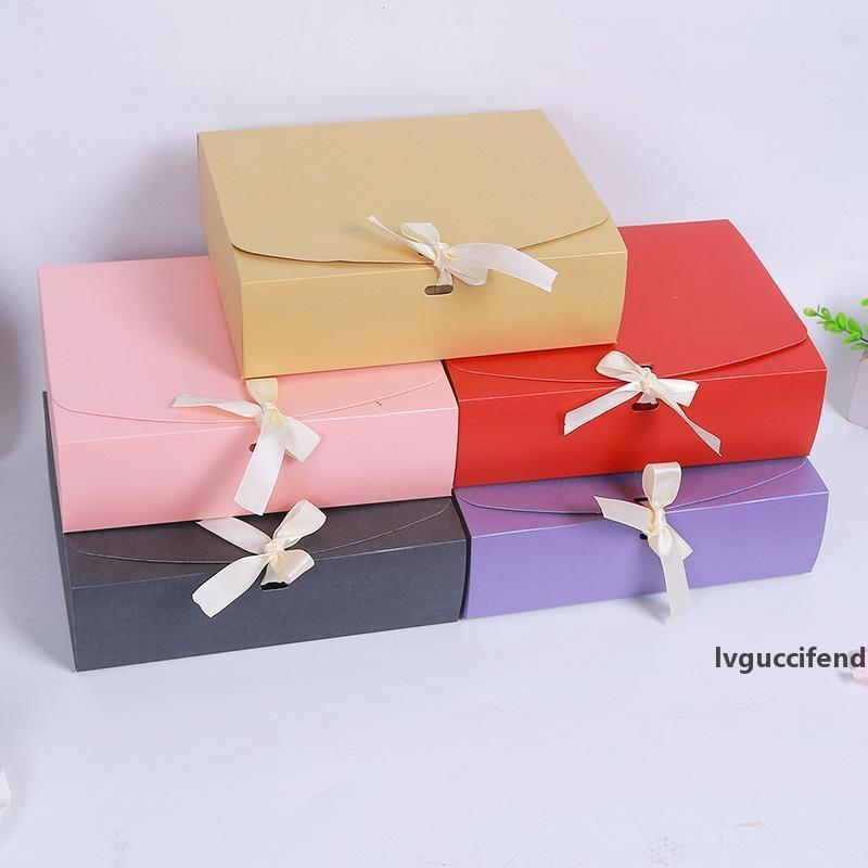 24.5x20x7cm Large Gift Box Cosmetic Bottle Scarf clothing Packaging Color Paper Box with ribbon Underwear packing box LX1792