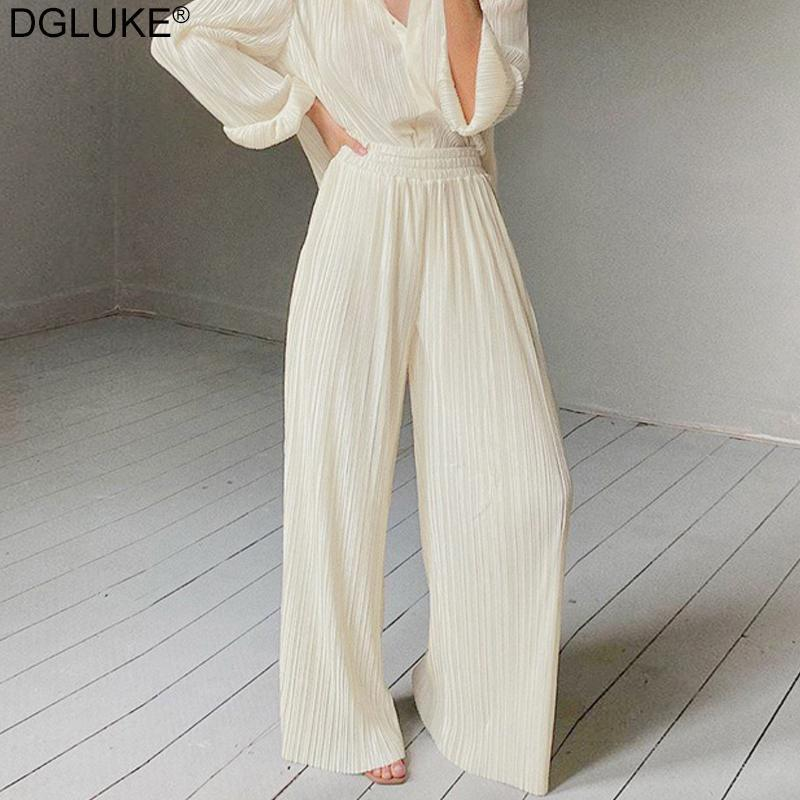 Dgluke été plissé large jambe pantalon femme fille haute taille lâche pantalon long pantalon bureau dame mode beige Palazzo pantalon 2021 printemps