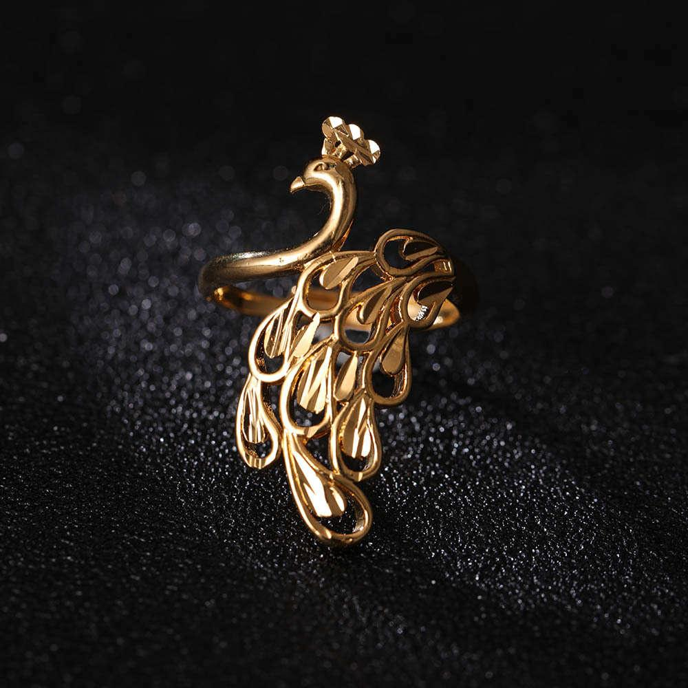 St.Kunkka 24k Giallo Giallo Gold Big Peacock per la donna di nozze della donna Dichiarazione Anello Charm New Moda Gioielli alla moda