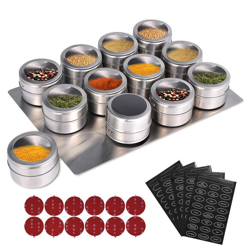 Potenciômetro magnético com prateleira de parede, pote de aço inoxidável, recipiente com especiarias