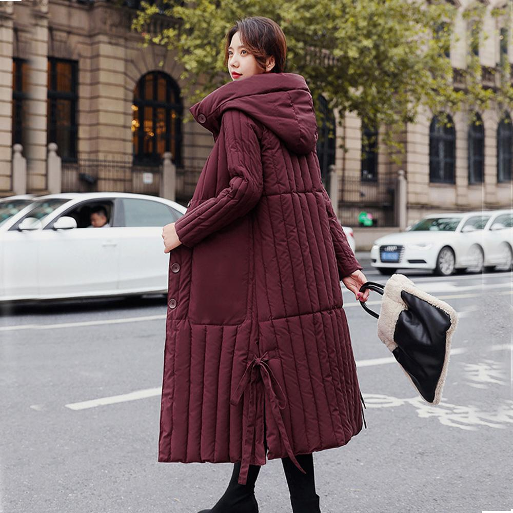Hooded Long parka down parka women winter coat jacket Long style off the knee down cotton padded jacket for women 206 210203