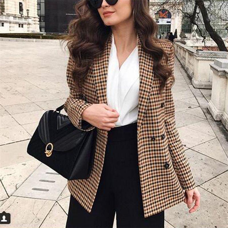 النساء منقوشة الحلل والسترات الخريف العمل مكتب سيدة وجيزة دعوى الإناث الأزياء سليم مزدوجة الصدر الأعمال blazer معاطف