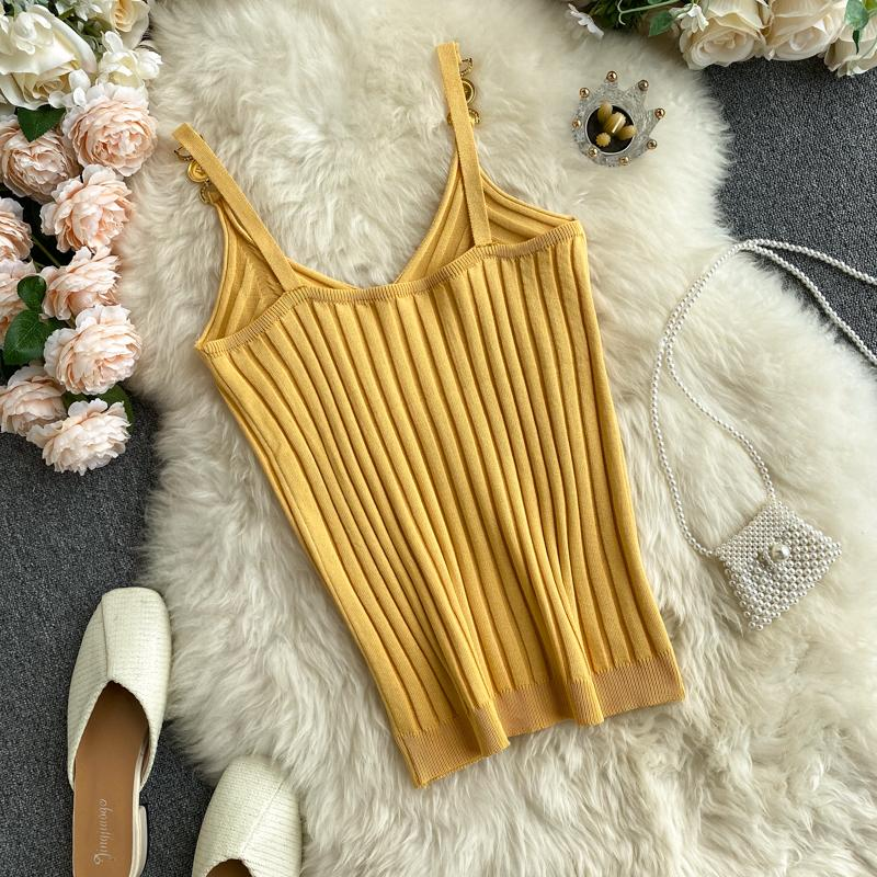 V-neck Halter Sexy Camisole Top 2021 Summer Women Sexy off-Shoulder Solid Color Sleeveless Camis Women's Clothing Tanks Tops