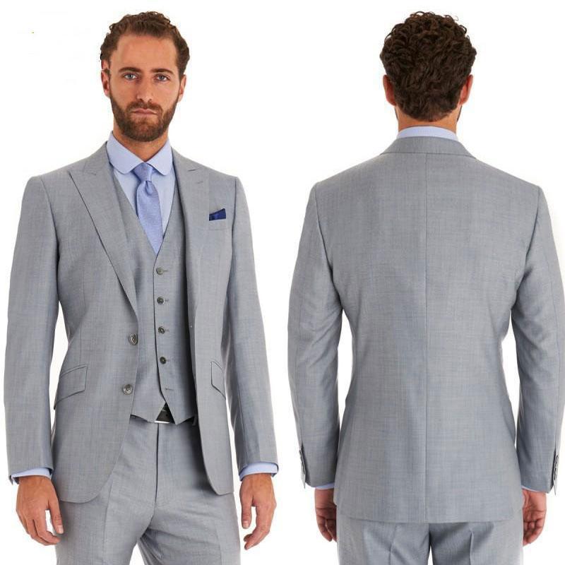 Özel tasarlanmış Yapımı Gri Erkekler Suits Geniş Çatılı Yaka Slim Fit Biçimsel İş Giyim 3piece Damat Smokin Man Blazer Ceket Kostüm Homme