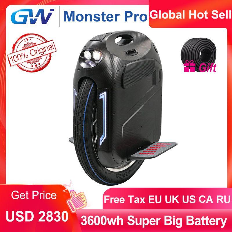 Gotway Monster Pro Unicycle 2020 새로운 원래 24 인치 100V 3600Wh Pro 4000W 몬스터 자기 균형 한 휠 전기 스쿠터