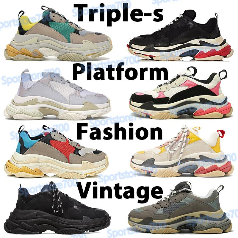Triplo-s sapatos paris homens mulheres plataformas sneakers bege verde amarelo ginásio vermelho azul cinzento cinzento branco cor-de-rosa preto homens correndo esportes trainenrs