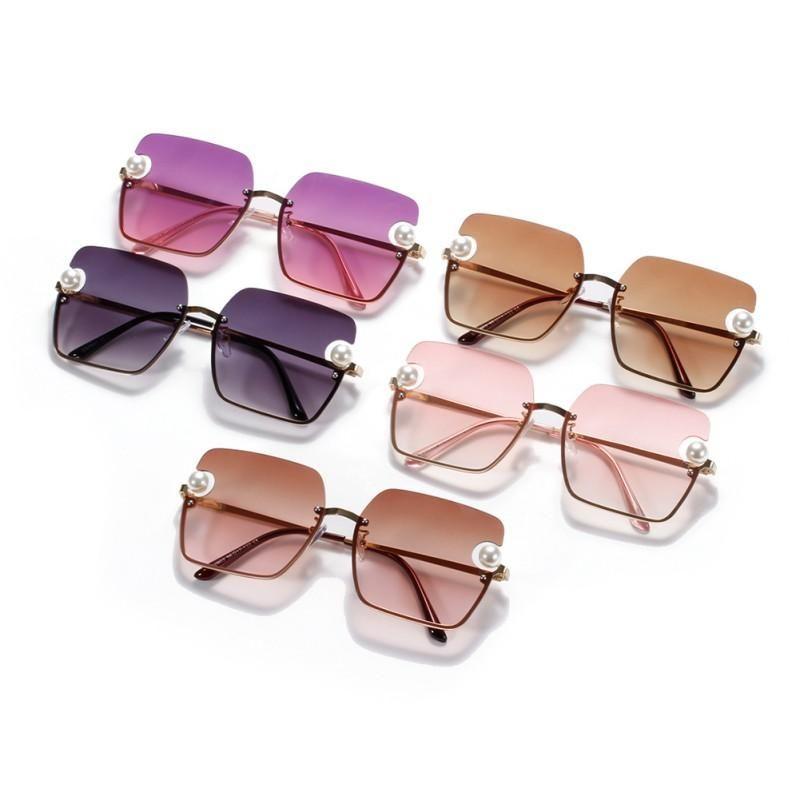 Pearl coreano rotondo occhiali da sole da donna Designer di lusso in metallo grandi sfumature retrò vintage sole occhiali da sole occhiali da vista