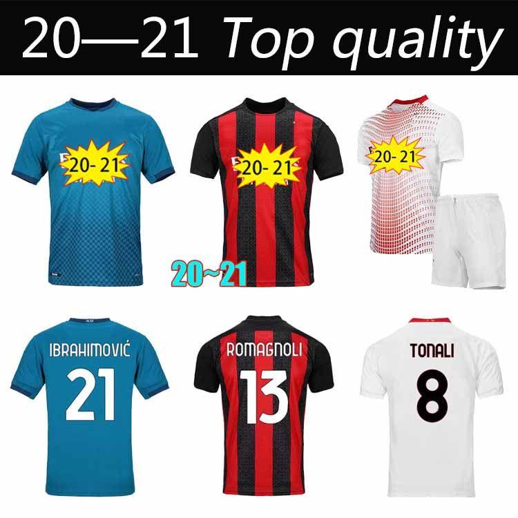 2020 AC MILAN Ibrahimovic Soccer Jersey Kit de adultos 120 aniversario Edición Paqueta Romagnoli Piatek Camisas de fútbol Camisa AC Milan 20 21