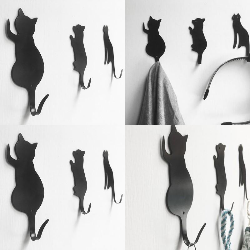 Badezimmer Küchenkarikaturhaken schwarzer Katze Hund geformt wasserdicht Metall keine Spurenhaken Aufhänger Artikel für tägliche Verwendung 3 5YK J2
