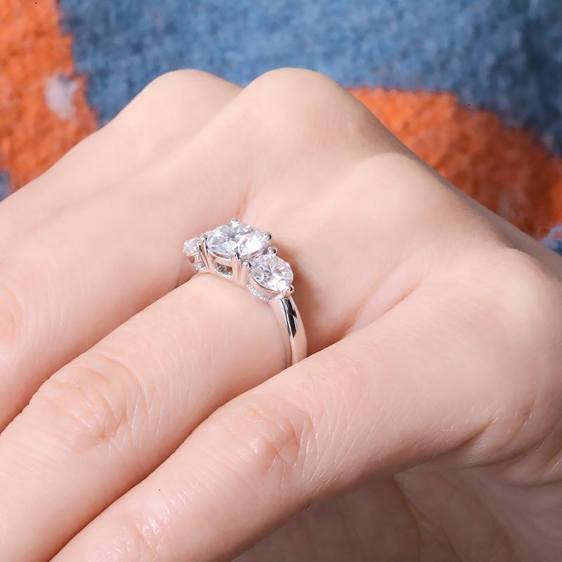2.0ctw 6.5mm rond brillant coupé moissanite engagement halo bague de halo de style de pierre réelle solide 18 carats blanc en or blanc pour dame df couleur q1214