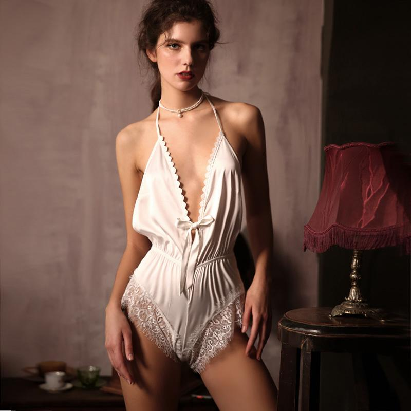 Neue 2020 Sexy Frau Sommer Thin Backless Versuchung Eis Seide Spitze Lose Jumpsuit Body One Größe Q1117