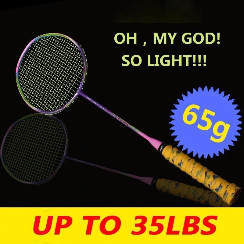 65G Ultra Light Badminton Racket Full Carbon Handle Impiegato 7U8U Telaio rotto a bassa resistenza al vento Racchetta LJ3034JXE Z1202