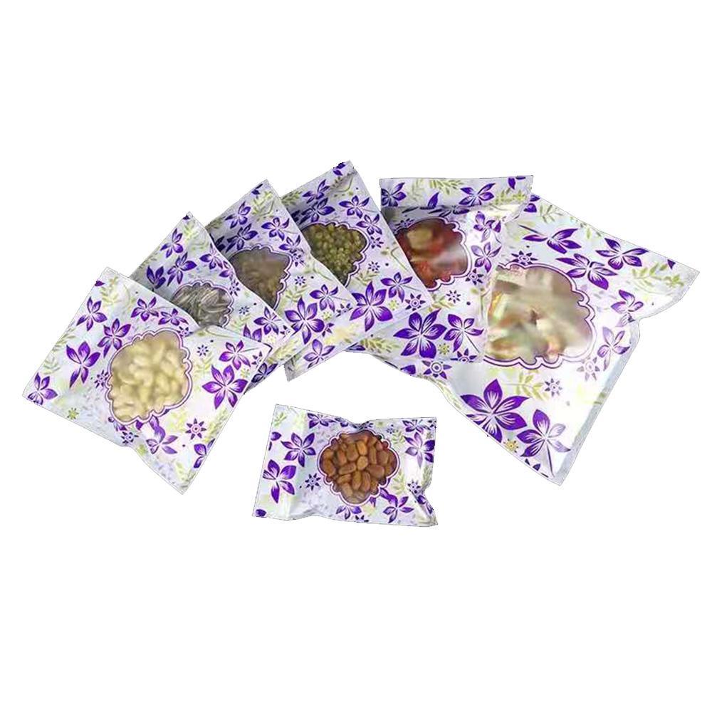 Sac de fermeture à glissière de 100 pcs / lot avec fenêtre givrée Sac à serrer à glissière pour emballage thé parfumé, collations décontractées, fruits secs