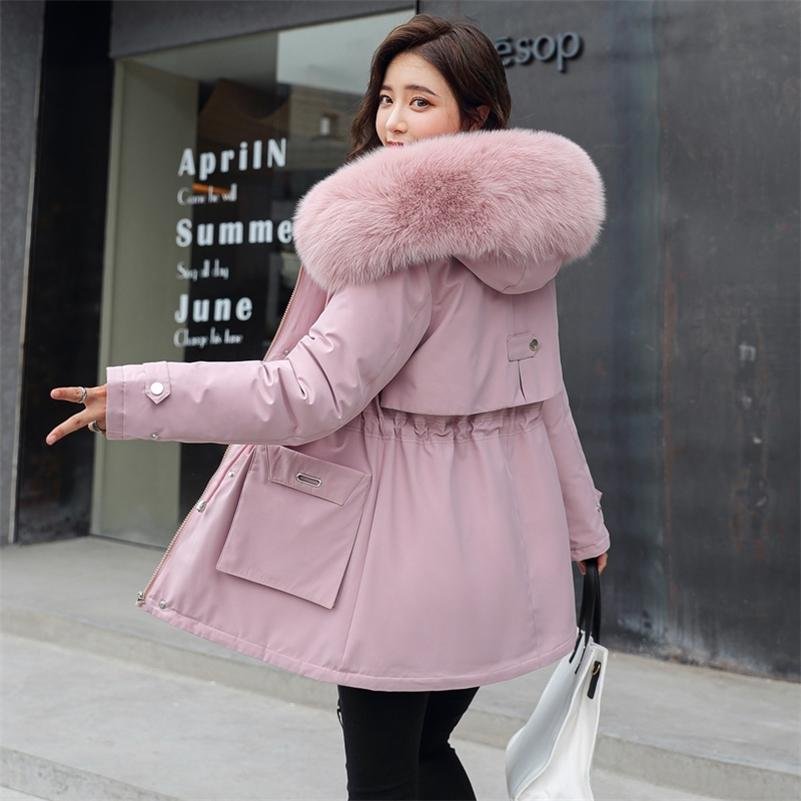 Long Jacket Women Winter Slim Wool Liner Female Cold Coat Hooded Solid Thick With Fur Collar Plus Size Casual Parkas Female 201211
