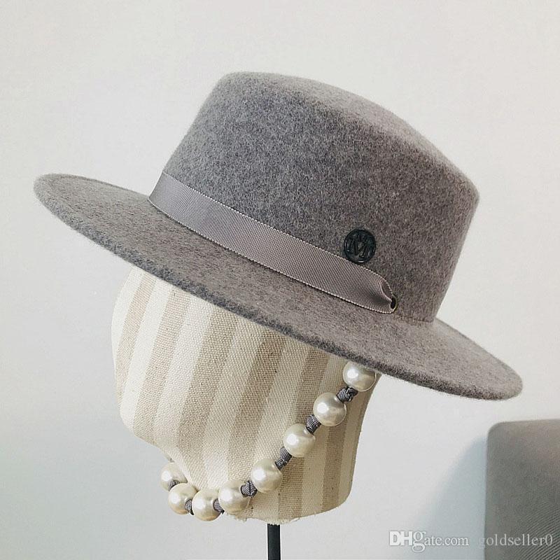 Fibonacci lana fedora sombrero mujeres retro lana sombrero de fieltro europeo punk plano top gorras gorra calle moda moda tendencia negro gorras gris
