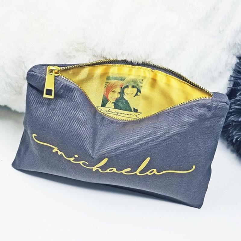 Personalisierte Namen Muttergeschenk, Foto-Tasche, Bridal-Foto-Clutch, beste Freunde Geschenk-Tasche, innen Cutom-Make-up-Bag1